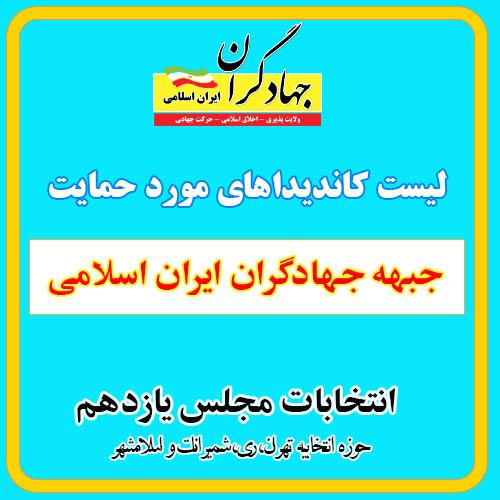 لیست کاندیدا جهادگران ایران